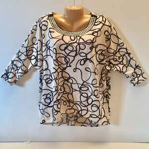 ALFANI Sz M Ivory Black Printed Sweater w/ Pearls